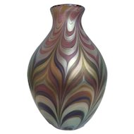 Pre-owned Lundberg Studios Iridescent Art Glass Vase