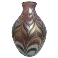 Pre-owned Lundberg Studios Iridescent Art Glass Vase