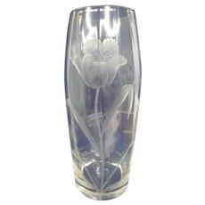 "Magnificent Signed Moser Karlsbad 13-1/2"" Intaglio Ribbed Vase"