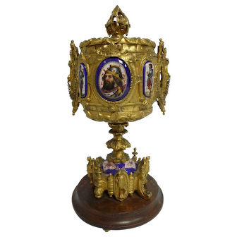 Antique Gilt Bronze Reliquary w/Hand Painted Porcelain Medallions, Wood Stand