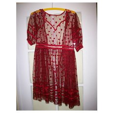 Lovely dress in Crimson Red for a child or very large doll