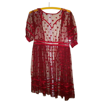 Lovely dress in Crimson Red for a child or large doll
