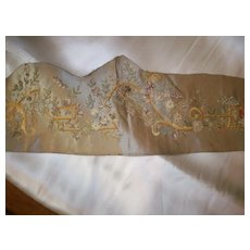 Antique French silk ribbon work embroidery may be 18th century