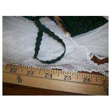 Antique silk trim civil war period French trim dark green Rare