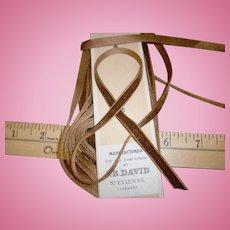 Narrow French antique silk velvet ribbon in Oakwood brown
