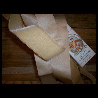 Exquisite antique deep ivory silk velvet ribbon