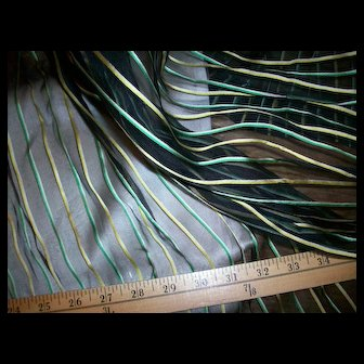 Antique silk stripe 19th century fabric from a skirt
