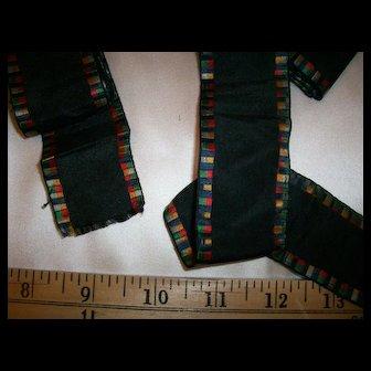 Antique silk ribbon 1800s doll dressing
