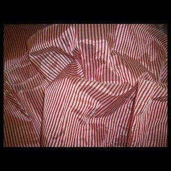 Vintage silk red/white striped taffeta