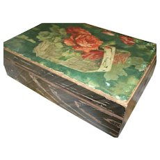 Vintage box with red roses