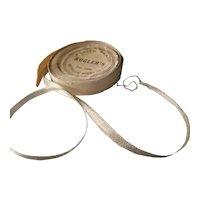 "Metallic silver ribbon 1920s authentic 1/4"" width"