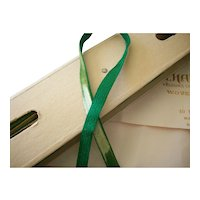 Antique narrow emerald silk velvet ribbon