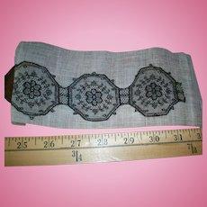 Fine black silk antique lace medallions small scale