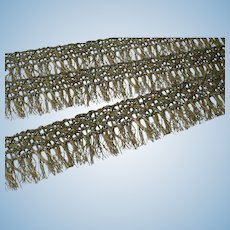 Antique Lacey gold fringe
