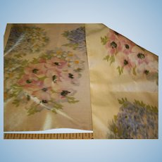 Watered silk floral antique ribbon sample for doll dressing
