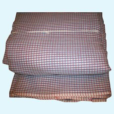 Pure cotton organdy vintage plaid red ivory blue