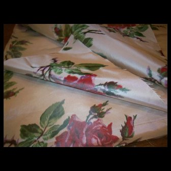 Amazing watered silk fabric piece red shaded roses