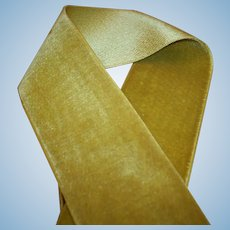 Color of Absinthe silk velvet antique ribbon of the finest quality