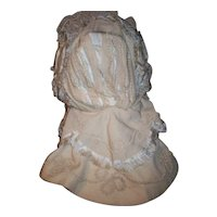 Antique large doll or child's Bevolet French bonnet Rare