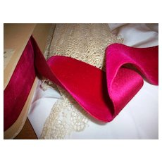 """Antique silk and cotton velvet ribbon in Cerise 2 1/8"""" wide"""