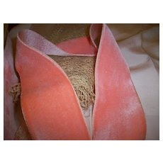 Bubble Gum pink silk and cotton very old velvet ribbon with satin back