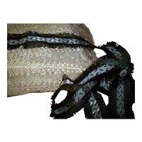 Antique silk trim civil war period French trim black/white Rare