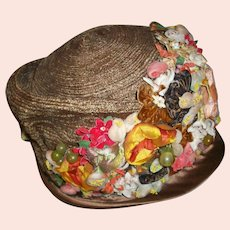 Wonderful antique floral hat 1910s to 20s