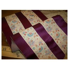 Antique silk ribbon stripe with amazing print