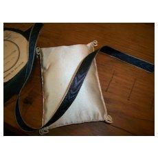 "Antique ribbon silk moire with metal edge black 3/8"""