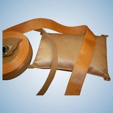 Actual antique silk satin peach ribbon