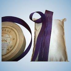 "Silk Moire antique ribbon 1/2"" width plum"