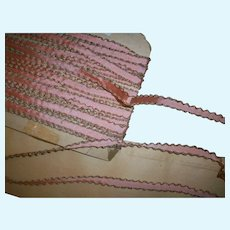 Pink and gold edged silk and metal doll dressing trim/ribbon 1 yd