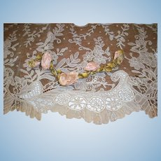 """Pale pink silk Garland ribbon work with ombre green """"leaves"""" antique"""