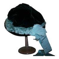 Dark chocolate silk velvet large doll's or child's hat