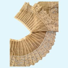 Rare antique pleated trim with hand done Alencon lace attached to the bottom of it