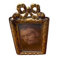 Doll house art antique frame metal