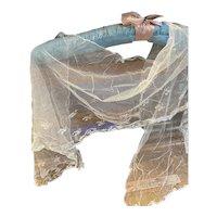 Antique tambour lace hand done 19th century dolls veil