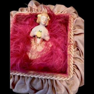 Pincushion 1/2 doll antique