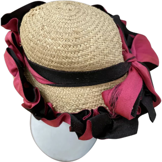 1800s antique doll hat straw and silk ribbon French fashion