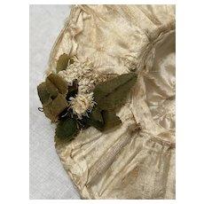 "6 1/4"" Doll's rare silk hat 1800s"