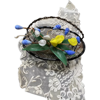 Wonderful antique metal basket with glass flowers doll size