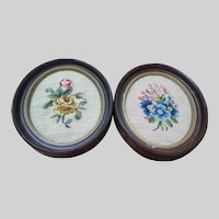 Vintage Pair Needlepoint in Oval Frame's