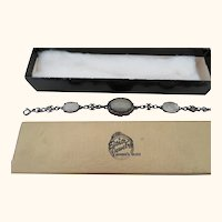 "Vintage Bracelet 7"" marked Fancy Silver work w/ Marcasite Stones"