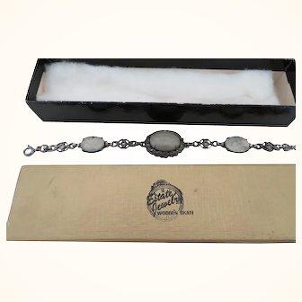 """Vintage Bracelet 7"""" marked Fancy Silver work w/ Marcasite Stones"""