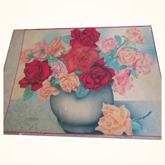 Beautiful Petit Point in Artist Willy Schermele Painted Box Vintage