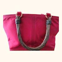 Renaud Pelligrino Vintage Cranberry Handbag w/ Twisted Lacquered Wood Handles