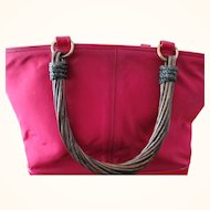 Renaud Pelligrino Vintage Cranberry Handbag w/ Twisted Lacquered Wood Handles