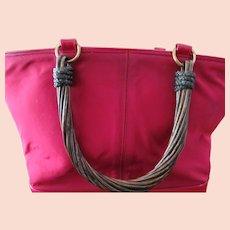 Renaud Pelligrino Vintage Red Handbag w/ Twisted Wood Handles