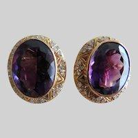18K Amethyst & Diamond Clip On Earrings Ret $2780