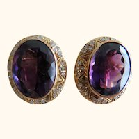 18K Amethyst & Diamond Clip On Earrings Ret $2780